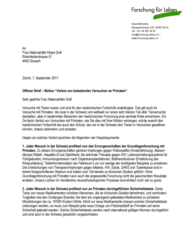 Offener Brief Maya Graf Forschung Für Leben